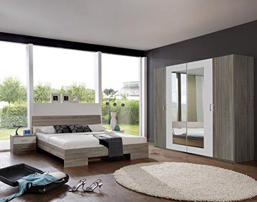 Dreams4Home Schlafzimmerkombination 'Prime X', Schlafzimmer, Kleiderschrank, 4-türig, Bett, Futonbett, Nachtschränke, Eiche, weiß, Spiegelschrank