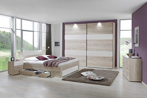 Dreams4Home Schlafzimmerkombination 'Slim III', Schlafzimmer, Bettgestell, Eiche, weiß, Vintage, Bettrahmen, Nachtschrank, Kleiderschrank, Schwebetürenschrank, Kommode