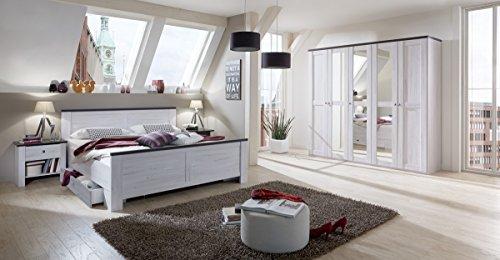 dreams4home schlafzimmerkombination sylt schlafzimmer bettgestell weieiche vintage bettrahmen. Black Bedroom Furniture Sets. Home Design Ideas