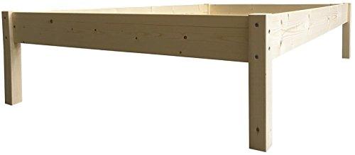 Erhöhtes Bett Massivholz Holzbett 90 100 120 140 160 180 200 x 200cm Seniorenbett (140cm x 200cm, Betthöhe 55cm)