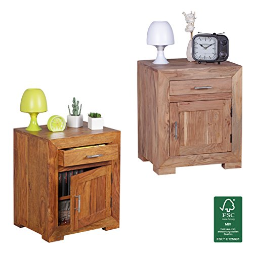 finebuy nachttisch massivholz nachtkommode 60 cm hoch 50 cm breit mit schublade und t r. Black Bedroom Furniture Sets. Home Design Ideas