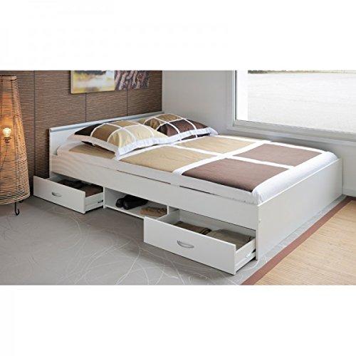 Funktionsbett Alawis 140*200 cm weiß inkl 2 Roll-Bettkästen Kinderbett Jugendbett Jugendliege Bettliege Bett Jugendzimmer Kinderzimmer