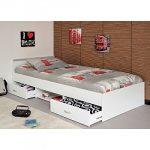 Funktionsbett Alawis 90*200 cm weiß inkl 2 Roll-Bettkästen Kinderbett Jugendbett Jugendliege Bettliege Bett Jugendzimmer Kinderzimmer 1251