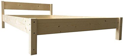 Futonbett mit Kopfteil Holz Bett massiv Holzbett 90 100 120 140 160 180 200 x 200cm, Hergestellt in Deutschland