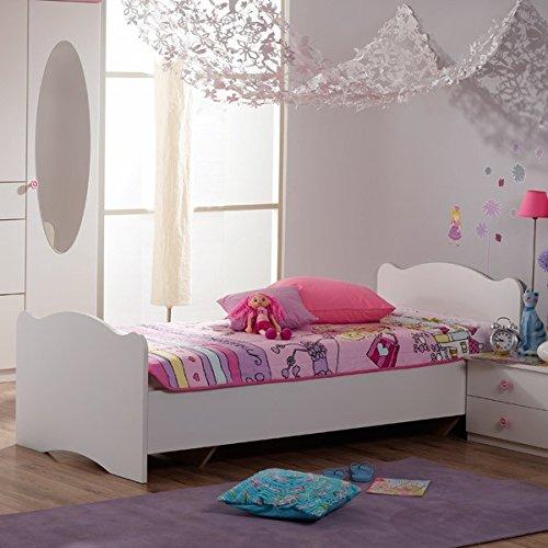 Jugendbett 90*200 cm weiß Jugendliege Kinderbett Bettliege Bett Bettgestell Mädchen Holzbett Jugendzimmer Kinderzimmer