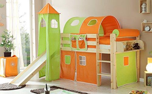 Kinderbett, Rutschbett mit Turm, Kiefer massiv inkl. Leiter, Liegefläche 90 x 200 cm, Maße: B/H/L ca. 96/114/205 cm