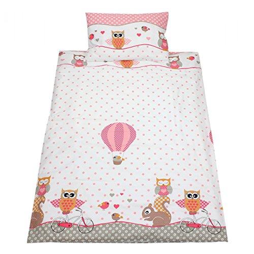 Kinderbettwäsche 100x135 Bettgarnitur Baby Bettwäsche 2 tlg. Bettset 100% Baumwolle Eulen- Bärchenmotiv