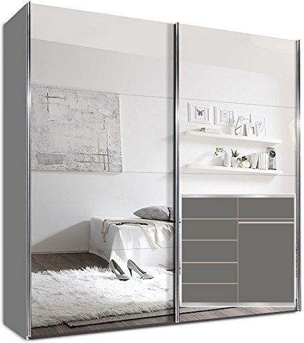kleiderschrank schwebet renschrank 225 x 220 x 69 cm inkl 5 einlegeb den wei spiegel und. Black Bedroom Furniture Sets. Home Design Ideas