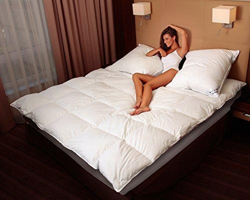 MA49 Warme Daunendecke 200x220cm Daunen 2500 Gr. EXTRA WARM Bettdecke Decke Steppdecke Weiß 100 prozentiges Naturprodukt