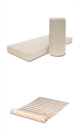Matratzenset Poly 90x200 cm, Härtegrad H2,5 + Premium Rollrost aus massiver Erle