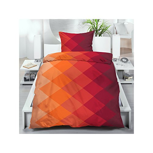 microfaser bettw sche 135x200 cm 2 oder 4 tlg bettgarnitur orange rot rautenmuster farbverlauf. Black Bedroom Furniture Sets. Home Design Ideas