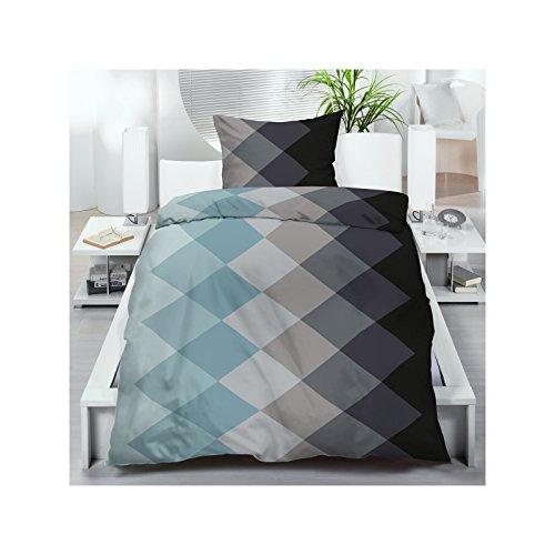 microfaser bettw sche 135x200 cm 2 oder 4 tlg bettgarnitur sparset schwarz blau rautenmuster. Black Bedroom Furniture Sets. Home Design Ideas