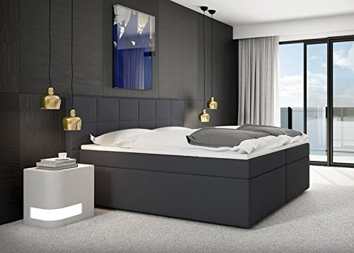 Miosono® Design Boxspringbett Salerno mit Nero Stoff-Bezug in anthrazit mit Bonellfederkern, 7-Zonen H2 Taschenfederkern-Matratzen, Viscoschaum-Topper, Memory-Effekt, optimale Einstiegshöhe, 180 x 200 cm