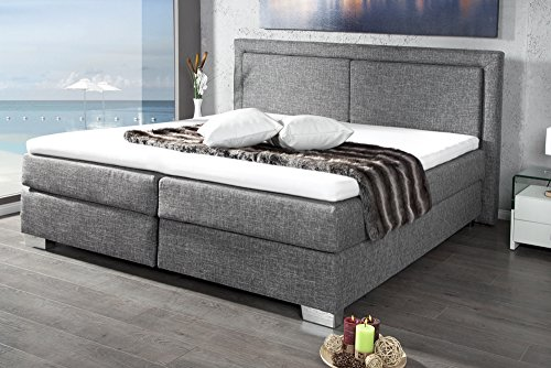 modernes boxspringbett queens 160x200 cm grau mit strukturstoff inkl matratze und topper bett. Black Bedroom Furniture Sets. Home Design Ideas
