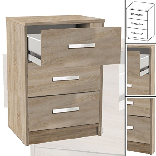 nachttisch 127 sonoma eiche 3x schublade holz nachtschrank nachtisch boxspringbetten. Black Bedroom Furniture Sets. Home Design Ideas