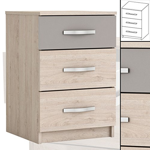 nachttisch 733 arizona eiche ton 3x schublade nachtschrank nachtisch schrank boxspringbetten. Black Bedroom Furniture Sets. Home Design Ideas