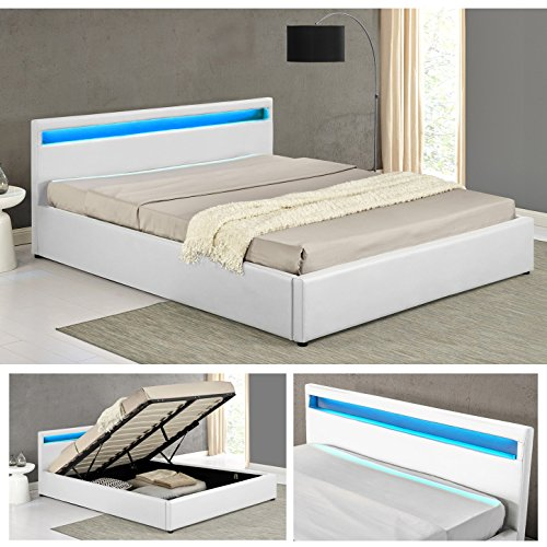 ohio weiss led doppelbett polsterbett gasdruckfeder bett. Black Bedroom Furniture Sets. Home Design Ideas