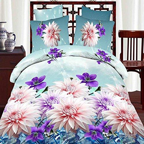 Pflanzen Blumen Azetatfaser reaktive Färben Denim 3D-Polstermöbel Schlafzimmer Bettwäsche -Größe Königin , 30