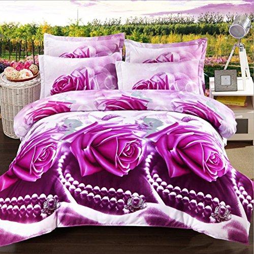 Pflanzen Blumen Azetatfaser reaktive Färben Denim 3D-Polstermöbel Schlafzimmer Bettwäsche -Größe Königin , 8