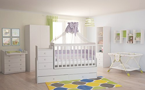 polini kids babyzimmer kinderzimmer komplett set wei 4 teilig mit babybett kinderbett. Black Bedroom Furniture Sets. Home Design Ideas