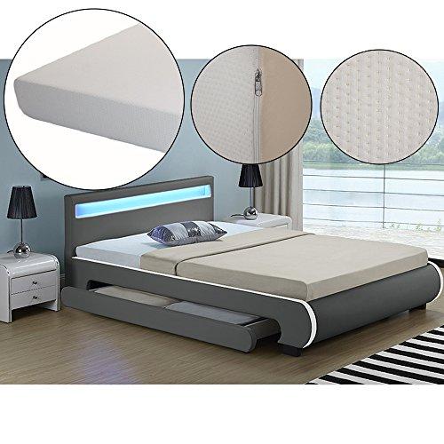 polsterbett bilbao 140 x 200 cm dunkelgrau mit. Black Bedroom Furniture Sets. Home Design Ideas