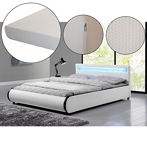 polsterbett sevilla 140 x 200 cm wei mit lattenrost. Black Bedroom Furniture Sets. Home Design Ideas