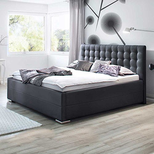 polsterbett mit lattenrost und bettkasten schwarz pharao24 boxspringbetten. Black Bedroom Furniture Sets. Home Design Ideas
