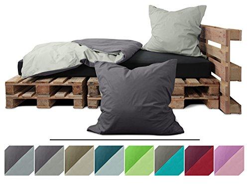 Renforcé-Wendebettwäsche - 100% Baumwolle - Kissenbezug ca. 80 x 80 cm + Bettbezug ca. 135 x 200 cm - in 8 modernen Uni-Farbkombinationen