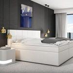 SAM® Design Boxspringbett Salerno LED mit Samolux®-Bezug in weiß, LED-Beleuchtung, Bonellfederkern, 7-Zonen H2 Taschenfederkern-Matratzen, Viscoschaum-Topper, Memory-Effekt, optimale Einstiegshöhe, 180 x 200 cm