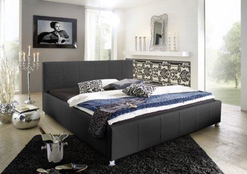 SAM® Kinderbett Jugendbett Polsterbett KIRA 100 x 200 cm schwarz gesteppt chromfarben Füße komfortabel modisch schlicht Lieferung erfolgt über Spedition teilzerlegt