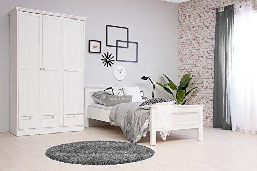 STOCKHOLM Mädchenzimmer Jugendzimmer Schlafzimmer komplett Set im Landhaus Stil in weiß mit Bett 90x200, 1 Nachttisch und Kleiderschrank 120 x 200 x 51 cm in weiß
