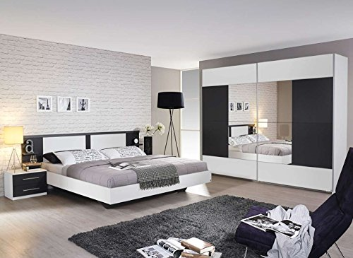 Schlafzimmer, Schlafzimmermöbel, 4-teilig, Komplett-Set, Schwebetürenschrank, Bettanlage, Bett, Nachtschränke, alpinweiß, weiß, grau-metallic