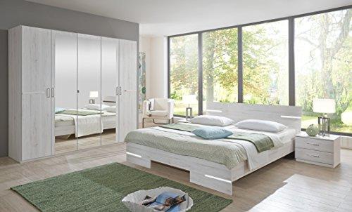 """Schlafzimmer-Set """"ANNA"""" Komplettset Doppelbett Nachtkommoden Kleiderschrank Bett 180 x 200 Weißeiche Nachbildung"""