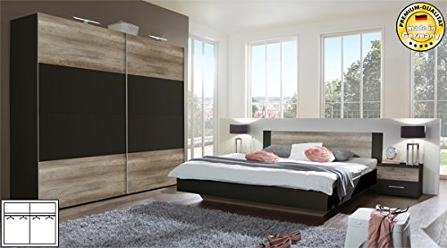 schlafzimmer komplett 4 teilig 631419 lava wildeiche bett 160x200cm boxspringbetten. Black Bedroom Furniture Sets. Home Design Ideas