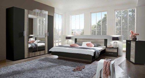 Schlafzimmer komplett, Set, Kleiderschrank Breite: 225 cm, Futonbett 180 x 200 cm, 2 Nachtschränke