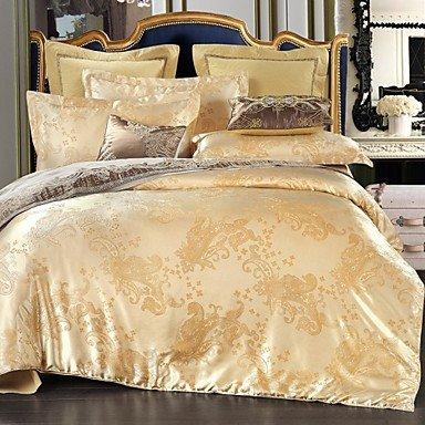 Schlafzimmer liefert 4pcs Duvet Cover SetBedtoppings Baumwolle Rich Jacquard geprägt gold gelb-Königin