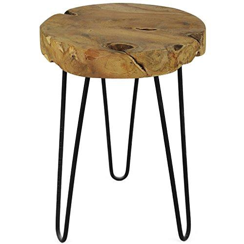 teak hocker metallbeine beistelltisch massivholz. Black Bedroom Furniture Sets. Home Design Ideas