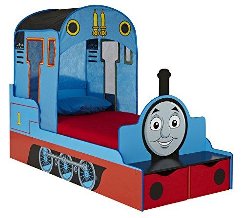 Thomas und Freunde Kleinkinderbett für Jungs mit Stauraum, Holz, blau, 165 x 73 x 122 cm