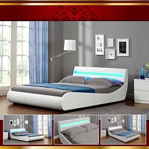 venedig led luxus weiss polsterbett doppelbett bettgestell. Black Bedroom Furniture Sets. Home Design Ideas