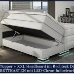 XXL ROMA Boxspringbett mit Bettkasten Designer Boxspring Bett LED Schneeweiss Rechteck Design