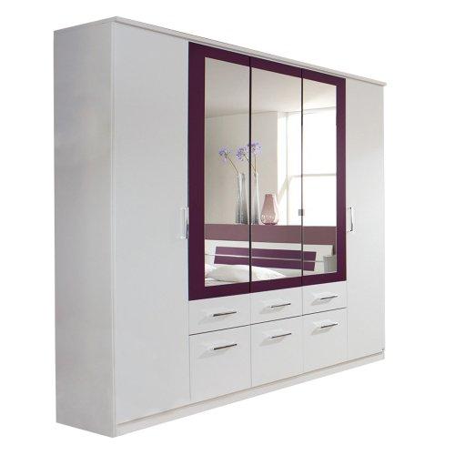 rauch kleiderschrank burano mit spiegel wei brombeer. Black Bedroom Furniture Sets. Home Design Ideas
