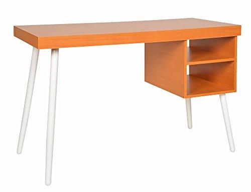 ts-ideen Design Holz Schreibtisch Bürotisch PC-Tisch Computer-Tisch Arbeitstisch Konsole MDF 2 Fächer Weiße Tisch-Beine Arbeitszimmer Schlafzimmer Hobbyraum