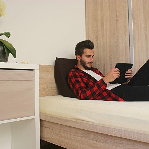 Lesekissen und Rückenstütze für optimale Sitzposition. Keilkissen, Rückenkissen, Fernsehkissen, Ergokissen, Farbe: Braun
