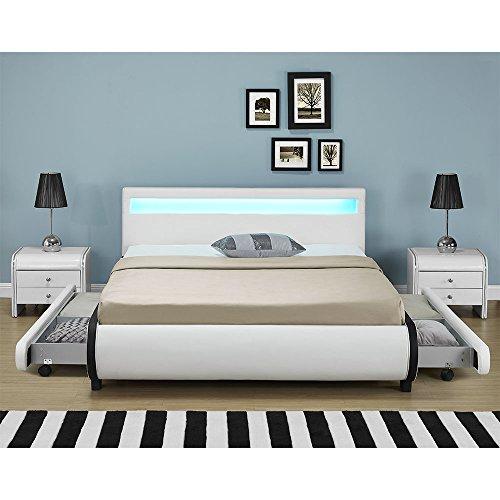 polsterbett bilbao 180 x 200 cm wei mit lattenrost. Black Bedroom Furniture Sets. Home Design Ideas