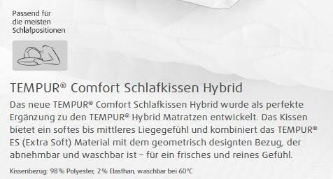 Tempur Schlafkissen Hybrid soft Größe: 40x80 cm