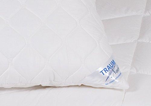 Traumnacht 4-Star Kopfkissen, weiches und bequemes Kopfkissen aus Baumwollmischgewebe, 80 x 80 cm, waschbar, weiß