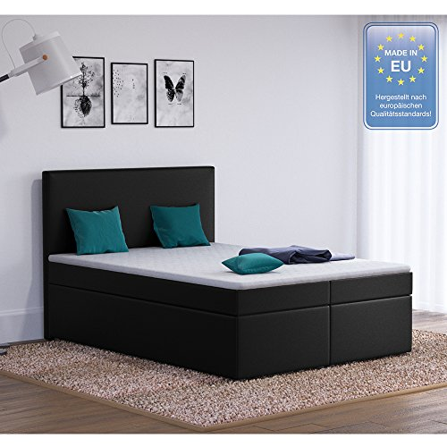 designer boxspringbett 140x200 doppelbett polsterbett bett. Black Bedroom Furniture Sets. Home Design Ideas