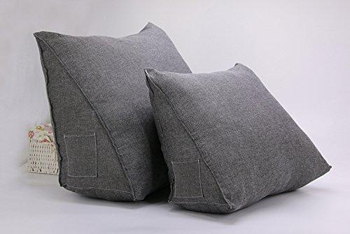 Misslight Luxus Lendenkissen Kissen super bequeme Bett Unterstützung Stuhlkissen Bücherkissen Fernsehkissen Rückenkissen Sofa Bett Taille Kissen Multi Funktion Dreieck (L, Grey)