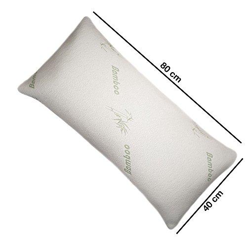 Dormiluna HWS Nackenstützkissen Bambus 40x80x15 cm, ergonomisches Visco Kopfkissen für Rückenschläfer und Seitenschläfer, Visco Kissen entspannt Nacken und Rücken