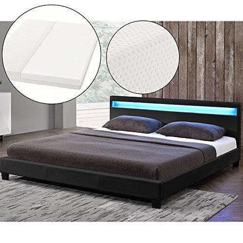 polsterbett paris 180 x 200 cm schwarz mit. Black Bedroom Furniture Sets. Home Design Ideas
